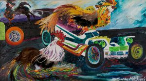 "Roadster and Roosters 18"" x 24"" – Mixed Media – $1333"