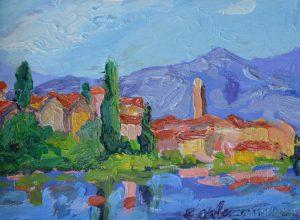 """Liguria Coastal Town 6"""" x 8"""" – Oil Original – $250 – Framed"""