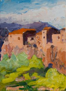 "Tuscan Hilltown Closeup 8"" x 6"" – Framed Oil Original – $416 - SOLD"