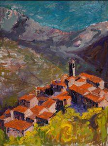 """Tuscan Hill Town (2) 40"""" x 30"""" – Oil Original – $2375"""