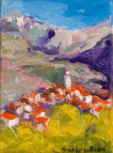 "Tuscan Hill Town (1) 8"" X 6"" – Framed Oil Original – $416"