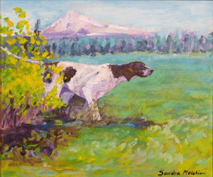 "Pointer in the Meadow 20"" x 24"" – Acrylic Original - $791 - Framed"