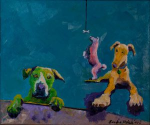 "Beggar Dogs 24"" x 36"" – Oil Original – $475 – SOLD"