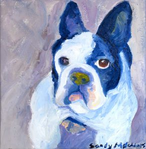 "Blue Frenchie 12"" x 12"" – Oil Original – $150 – SOLD"