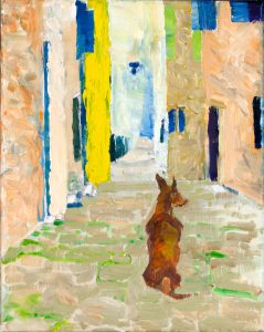 "Lipari Street Dog 10"" x 8"" – Oil Original – $150 – SOLD"