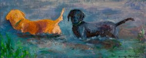"Two Dog Afternoon 18"" x 48"" - Oil Original - $1666 - Framed"