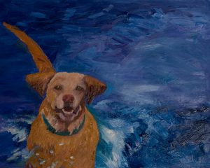 "Water Dog 24"" x 30"" - Oil Original - $1666 - Framed"