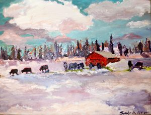 "Goodrich Road Snowcows and Barn 16"" x 21"" – Oil Original – $375 – SOLD"