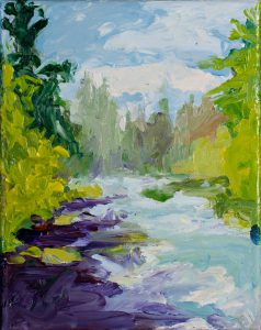 "Metolius River 10"" x 8"" - Oil Original - $583 - Framed - SOLD"