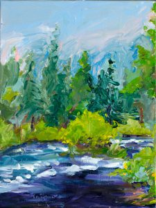 "Metolius River Willow Study 10"" x 8"" – Oil Original – $417"