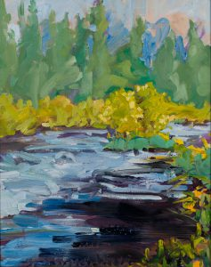 "Metolius Willows 20"" x 16"" – Oil Original – $625 – Framed – SOLD"