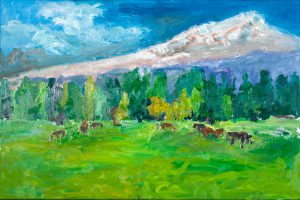 "Black Butte Ranch Meadow with Horses 30"" x 40"" – Oil Original – $1167"