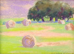 "Diamond Round Hay Bales 8"" x 10"" – Oil Original – Framed – $458"