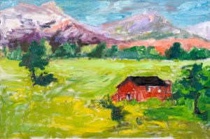 "Little Red Barn 24"" x 30"" – Oil Original – $833"