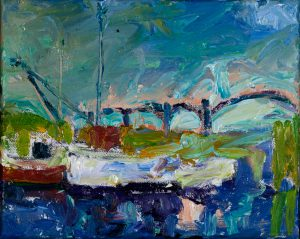 "Newport Boats and Bridge 6"" x 8"" – Oil Original – $166"