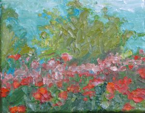 "Rainshadow Garden Poppies 8"" x 10"" – Oil Original – $250"