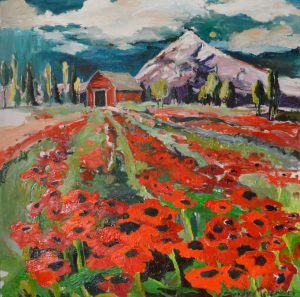 "Red Poppies Lead to Red Barn 53"" x 53"" – Oil Original – $850 – SOLD"