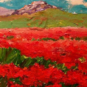 "Small Red Poppies 10""x 10"" – Oil Original – $250"