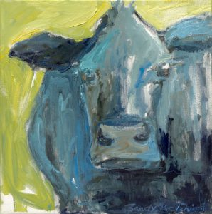 "Blue Bull 26"" x 26"" – Oil Original – $680 – SOLD"