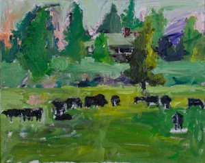 "Black Cows in the Meadow 16""x 20"" – Oil Original - SOLD"