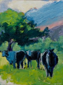 "Blue Hana Cows (1) 12""x 9"" – Oil Original – $292"