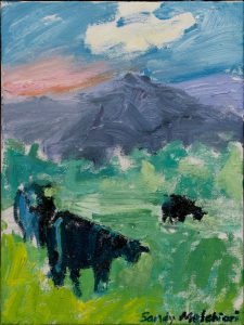 "Blue Hana Cows (2) 12""x 9"" – Oil Original – $292"