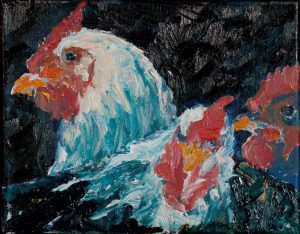 "Close Chickens 8""x 10"" – Oil Original – $250 – SOLD"