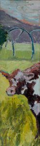 "Cow with Wheel Lines 32""x 9"" – Oil Original – $375"