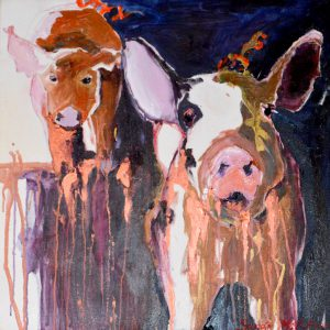 "Copper Mud Pigs 25"" x 25"" – Oil Original – $750"