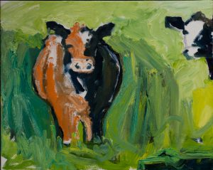 "Orange & Blue Cow Collection (1) (part of trilogy - set: $1250) 16""x 20"" – Oil Original – $400"