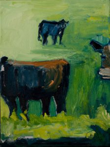 "Orange & Blue Cow Collection (2) - (part of trilogy – set: $1250) 24""x 18"" - Oil Original - $1000 - Canvas Wrapped Unframed"