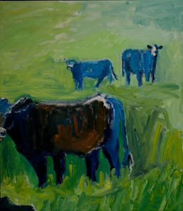 "Orange & Blue Cow Collection (3) (part of trilogy - set: $1250) 31 1/2""x 27 1/2"" – Oil Original – $600"