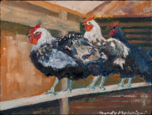 "Hens In Their House 9"" x 12"" – Oil Original – SOLD"