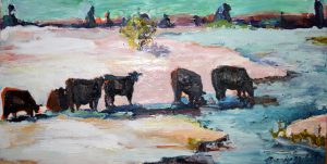 "Holmes Road Snowcows 9"" x 12"" – Oil Original – $417 – SOLD"