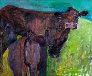 "Mama and Calf (2) 20""x 24"" – Oil Original – $475 – SOLD"