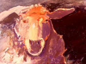 "Mauve Sheep 16""x 20"" – Oil Original – $625"