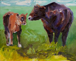 "Mom Cow and Calf 18"" x 24"" - Oil Original - $833 - Framed"