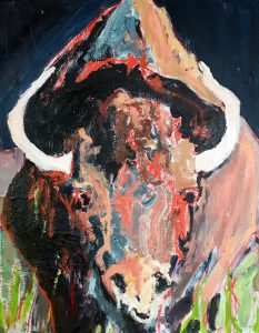 "Orange Buffalo 25"" x 25"" – Oil Original – $942"