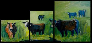 View of Three Piece Cow Collection – Oil Original – $1250