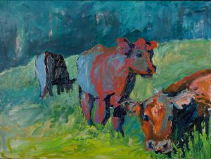 "Picasso Cows 30"" x 40"" – Oil Original – $780"