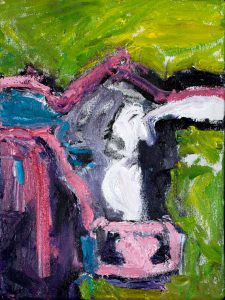 "Pink Cow (1) – 10"" x 8"" – Oil Original – Framed – $225"
