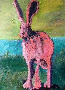 "Pink Jackrabbit 20"" x 16"" – Oil Original – $625"