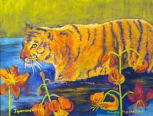 "iger and Tiger Lilies 24"" x 36"" – Pastel Original - $1416 - Framed"