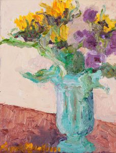 "Sunflowers in Green Vase 8"" x 6"" - Oil Original - SOLD"