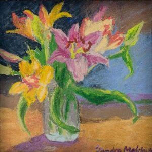 "Miniature Lillies 6"" x 6"" – Pastel Original – $208 – Framed"