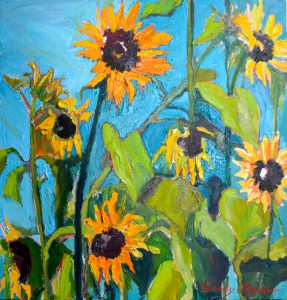 "Norma's Sunflowers 25"" x 25"" – Oil Original – $917"