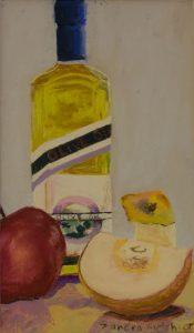 """Olive Oil & Apples 12"""" x 9"""" - Pastel Original - $625 - Framed – SOLD"""