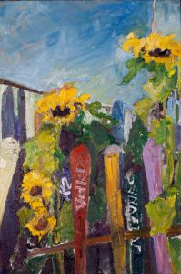 "Skis and Sunflowers 40"" x 30"" - Oil Original - $916 - SOLD"