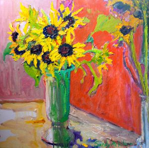 "Sunflowers in Green Vase 25"" x 25"" – Oil Original – $917"