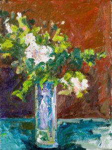 """Wild White Roses (1) 16"""" x 12"""" – Oil Original – Framed – $458 – SOLD"""